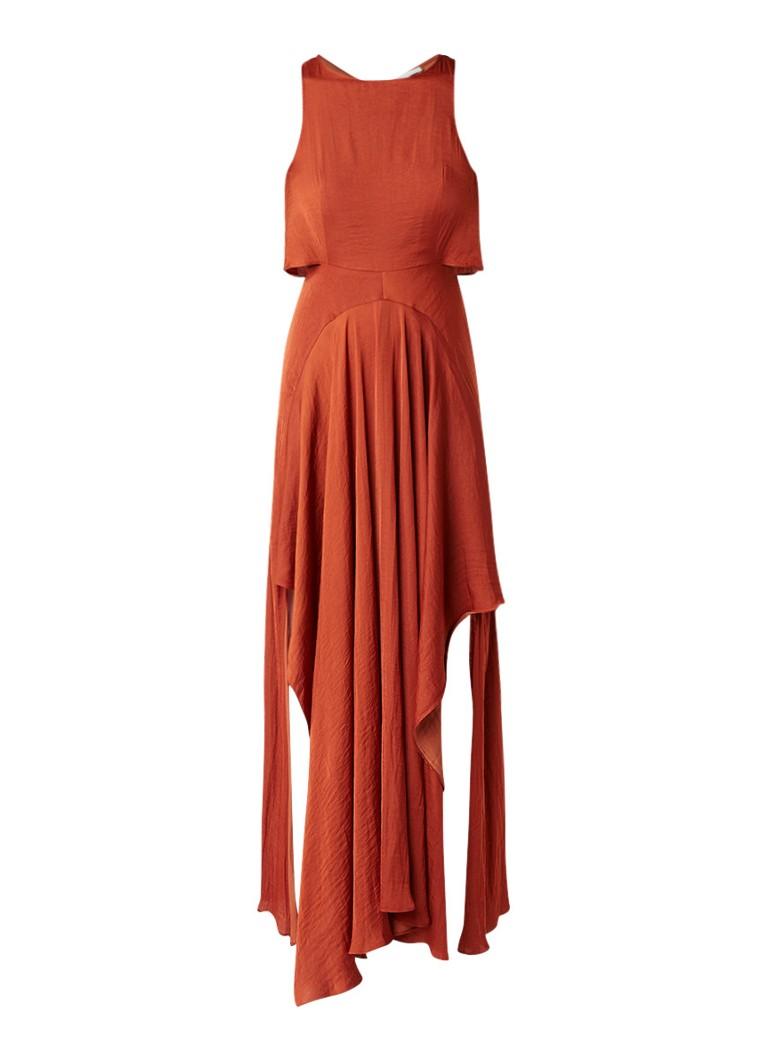 Maje Ranita maxi-jurk van satijn met split aan weerszijden roestbruin