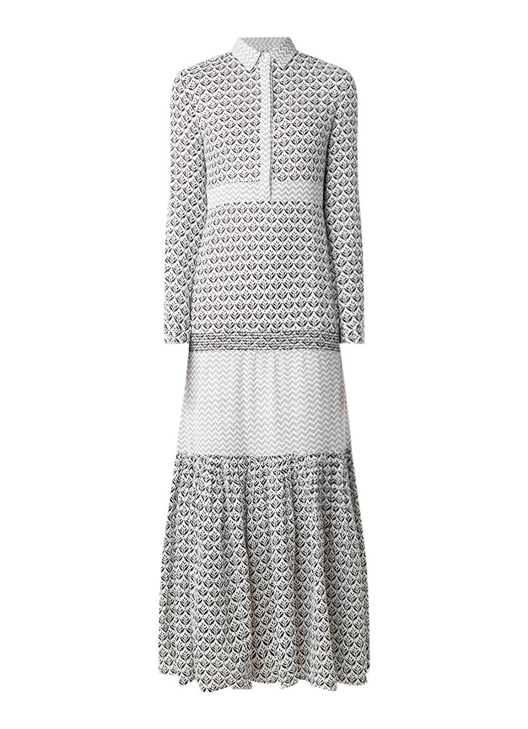Maje Ragely maxi-jurk met dessin gebroken wit