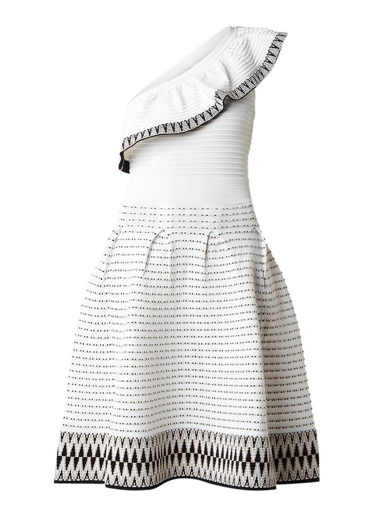 Maje Rasta one shoulder jurk met ingebreid dessin gebroken wit