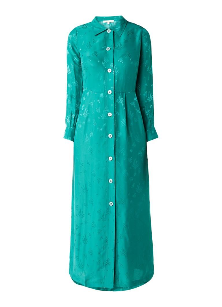 Maje Rawane blousejurk in zijdeblend met palmdessin groen