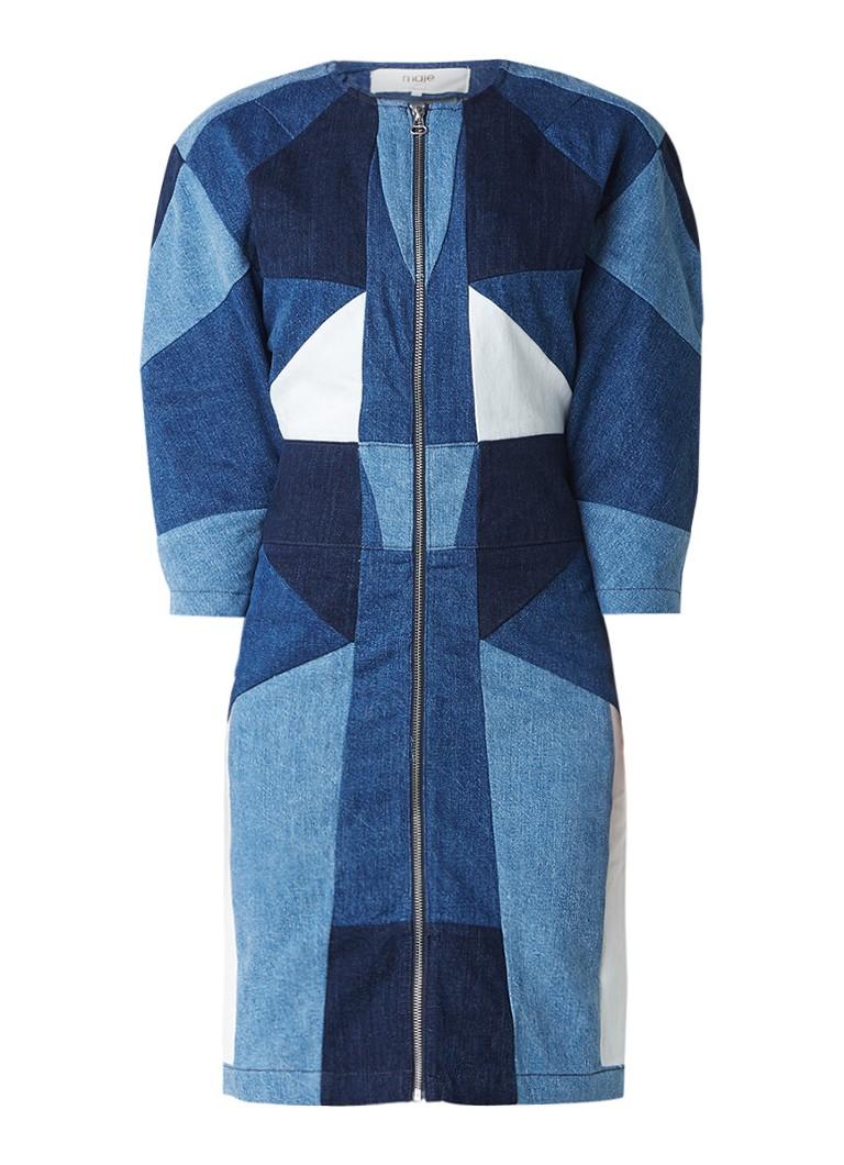 Maje Rosen jurk van patchwork denim met ritssluiting