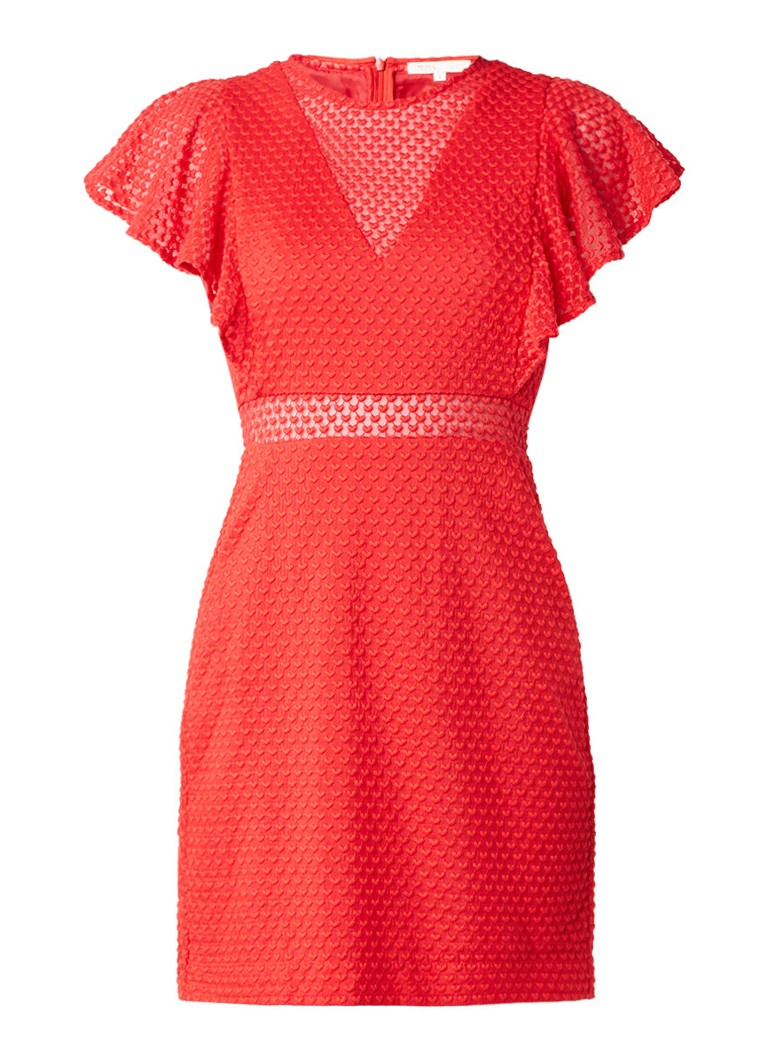 Maje Roucoul mini-jurk met borduringen rood