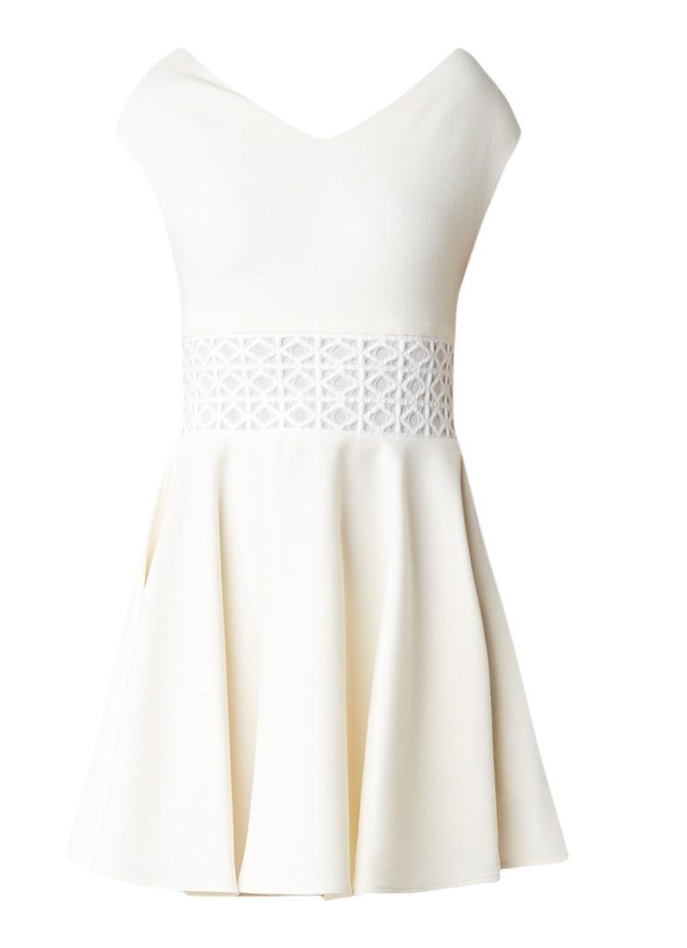 Maje A-lijn jurk met detail van kant vanillegeel
