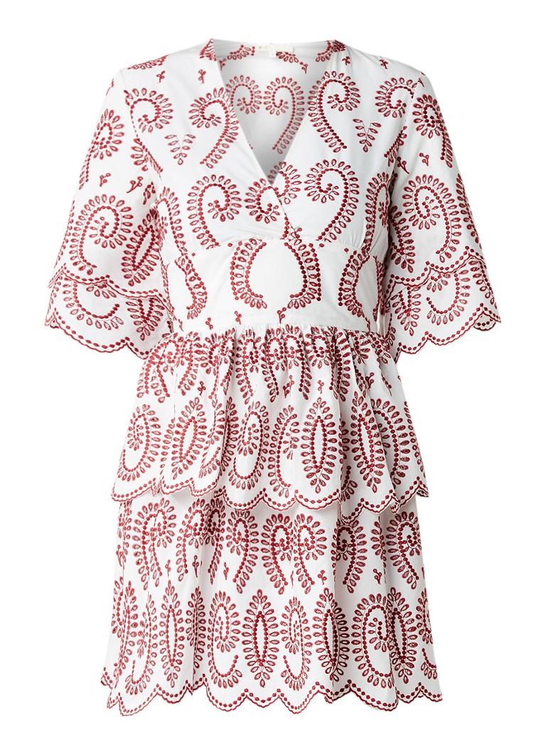 Maje Rember A-lijn jurk met broderie rood