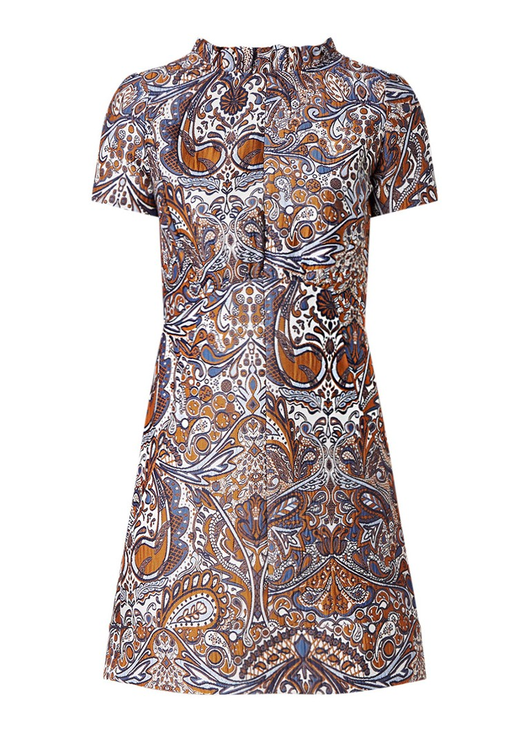Maje Rimane korte jurk met jacquard bruin