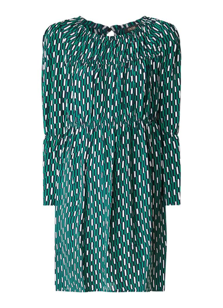 Maje Revalou midi-jurk met trompetmouw en dessin groen