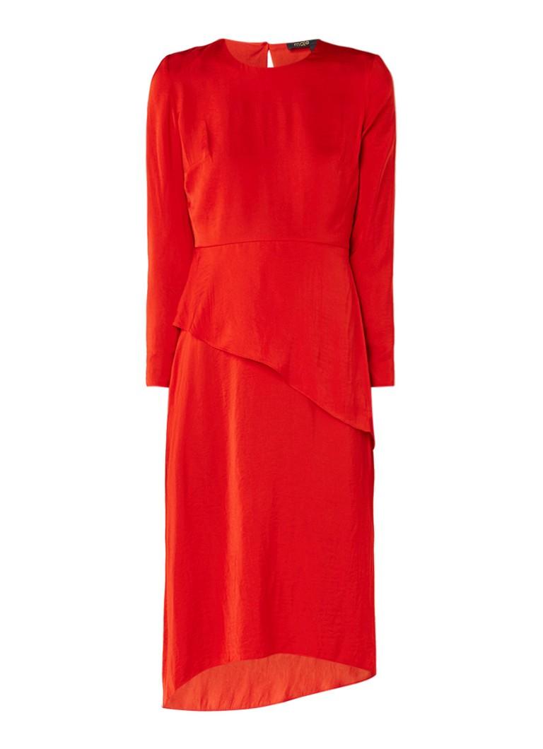 Maje Remania midi-jurk met lange mouw en overlay rood