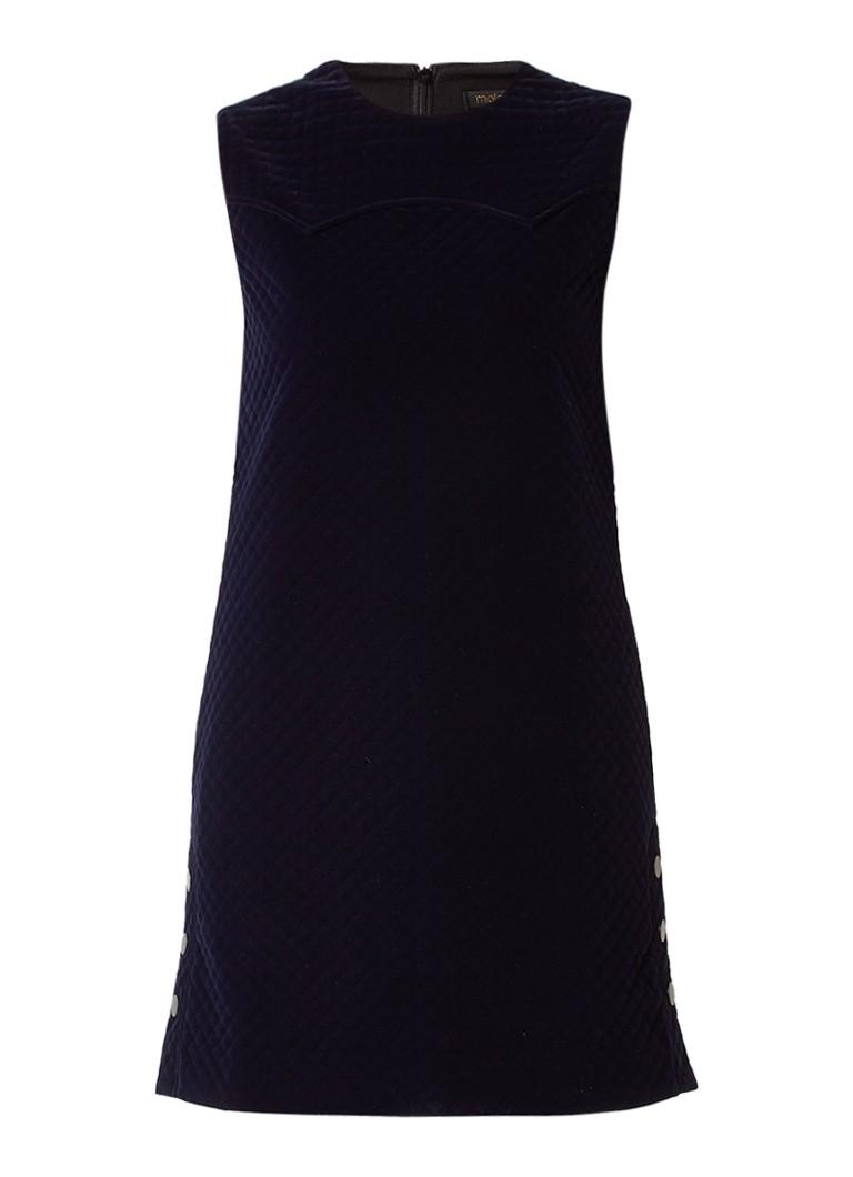 Maje Robe quilted jurk van fluweel met knoopdetail donkerblauw