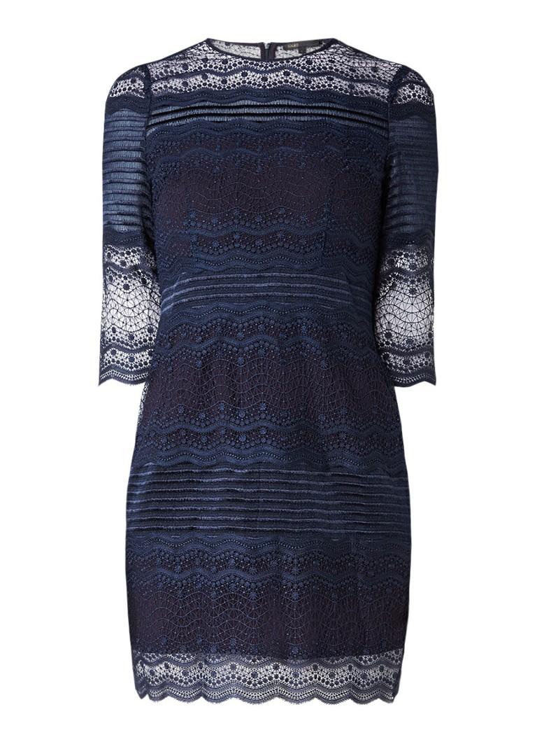 Maje Rizzie jurk van opengewerkt kant donkerblauw