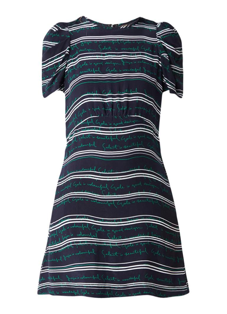 Maje Romancier A-lijn jurk met tekst donkerblauw