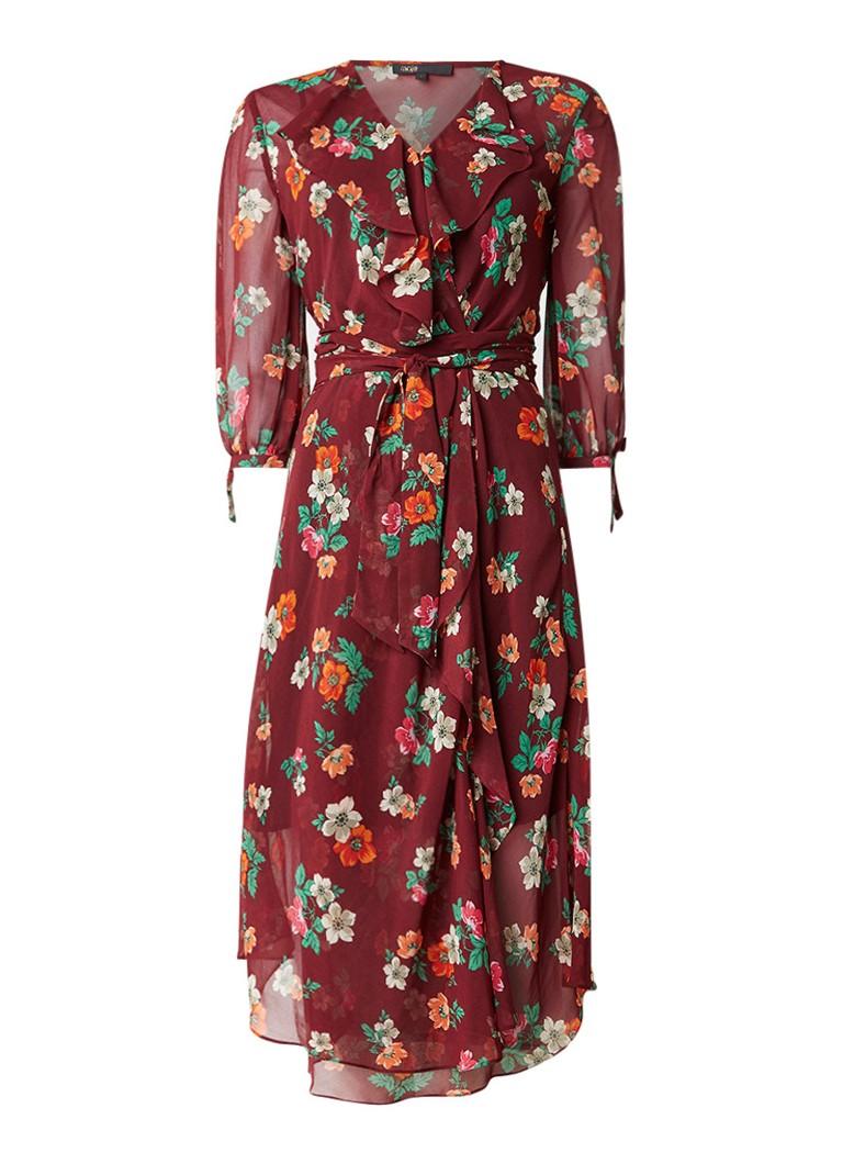 Maje Reselia midi-jurk met onderjurk en bloemendessin bordeauxrood