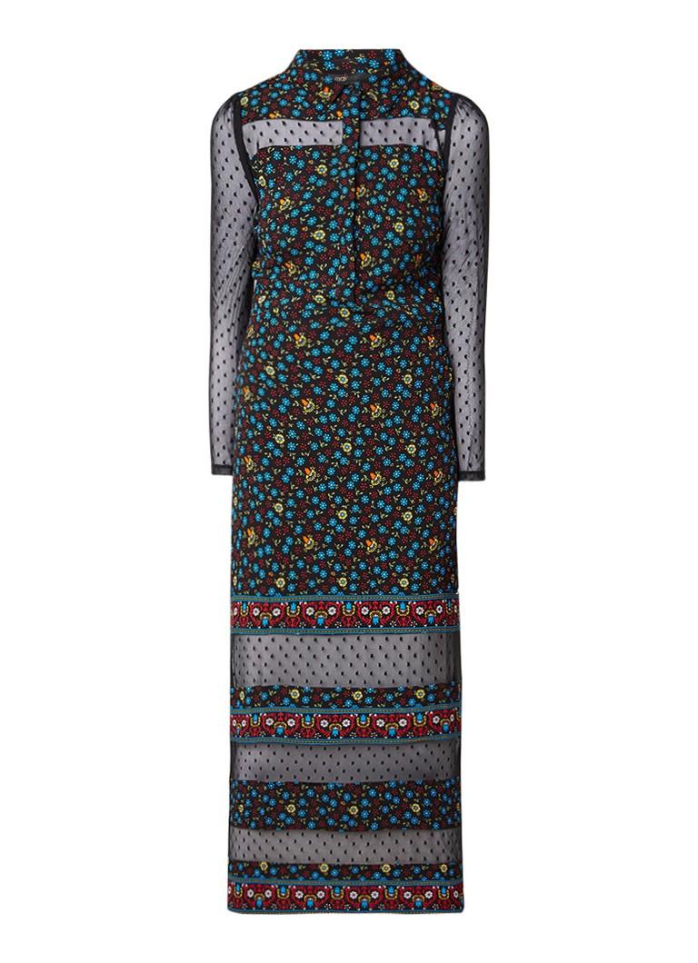 Maje Rezia gebloemde maxi-jurk met inzet van mesh zwart