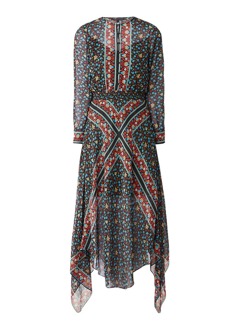 Maje Maxi jurk met gesmockte tailleband en bloemendessin multicolor