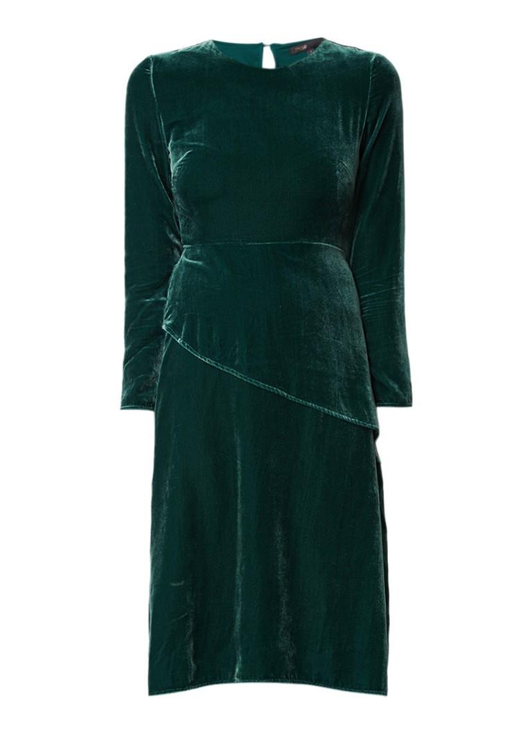 Maje Remanio midi-jurk van fluweel donkergroen