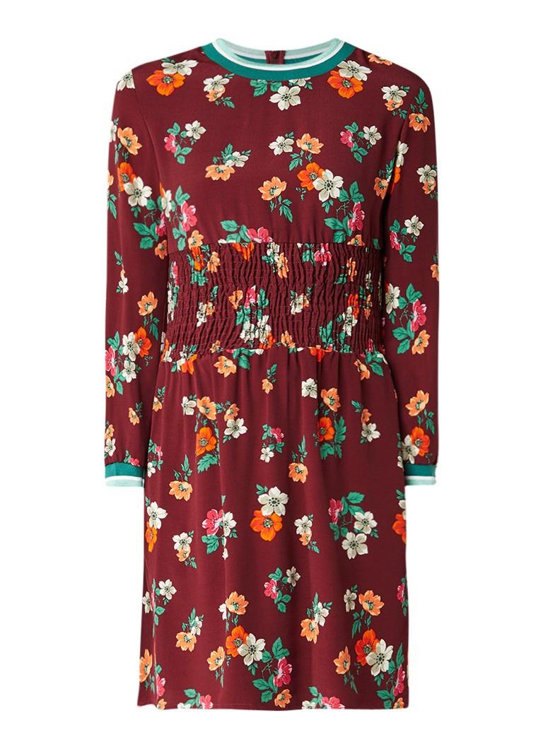 Maje Roskea A-lijn jurk met gesmockte tailleband bordeauxrood