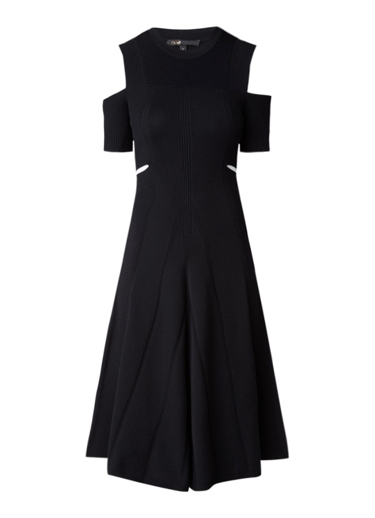 Maje Ribgebreide cold shoulder jurk met cut-outs zwart