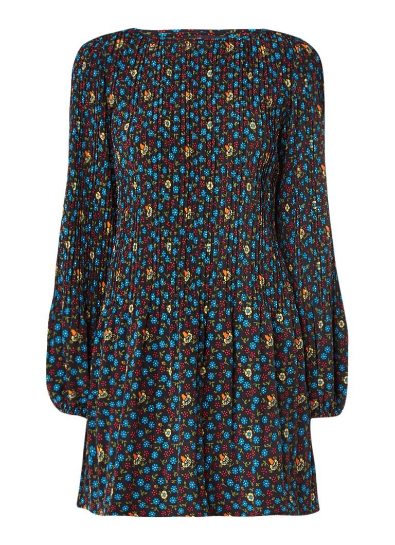 Maje Rockina jurk met plooien en bloemendessin zwart
