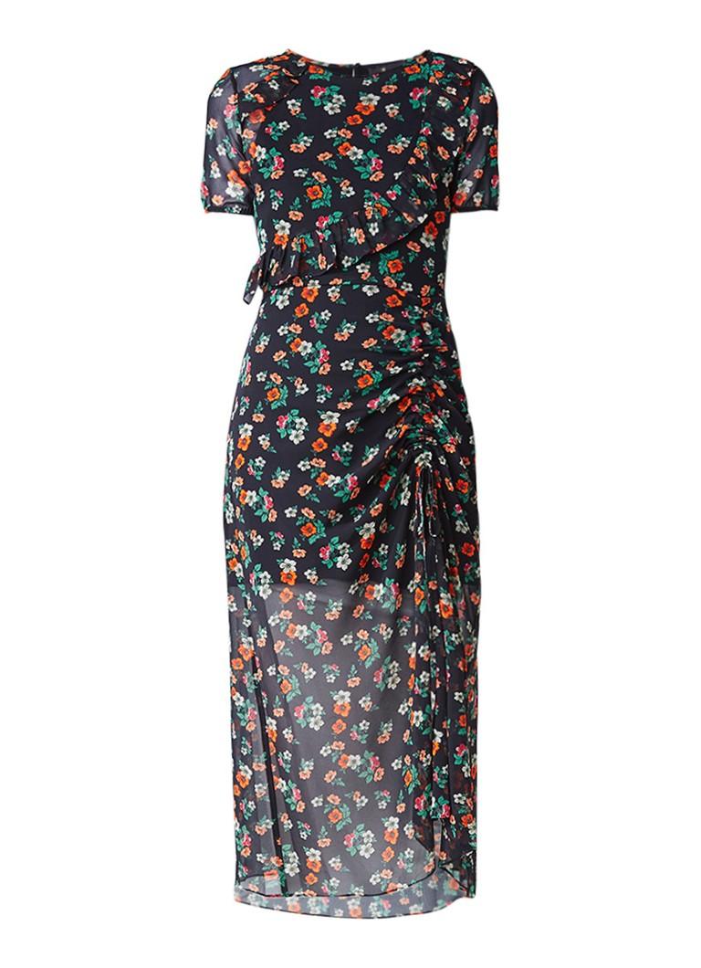 Maje Rancho maxi-jurk van crêpe met bloemdessin en volant zwart