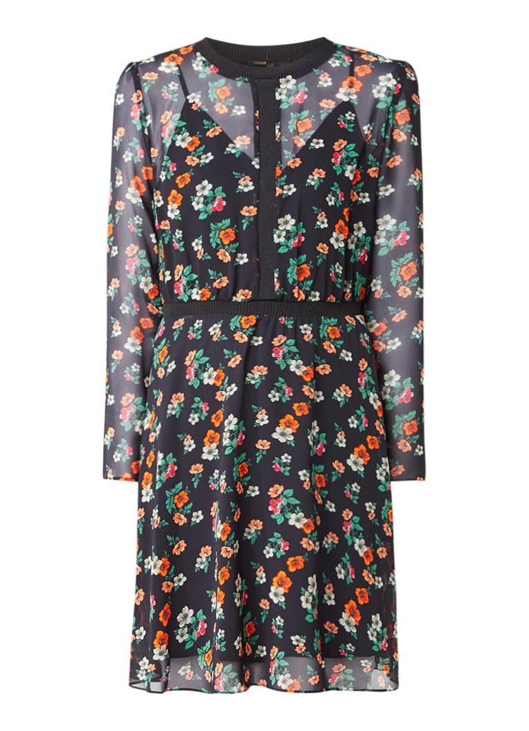 Maje Rayon semi-transparante A-lijn jurk met bloemdessin donkerblauw