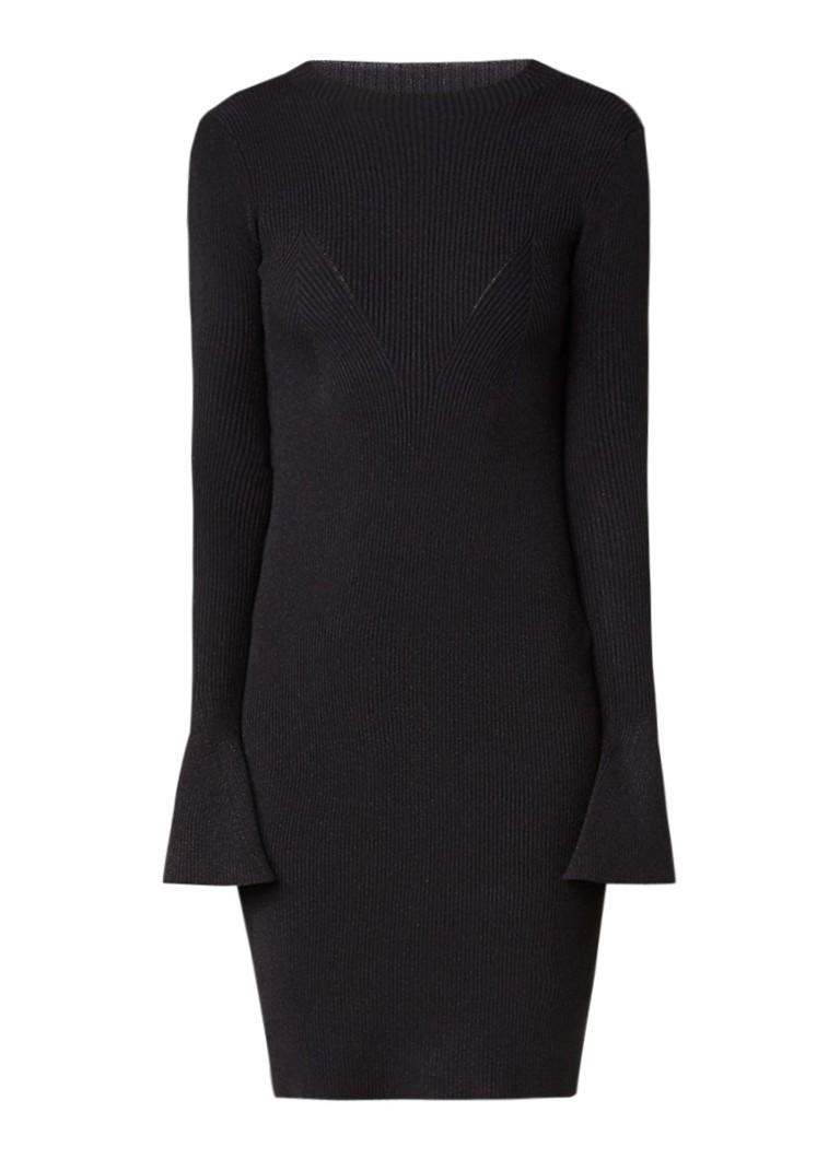 Maje Robinson ribgebreide jurk met lurex en trompetmouw zwart