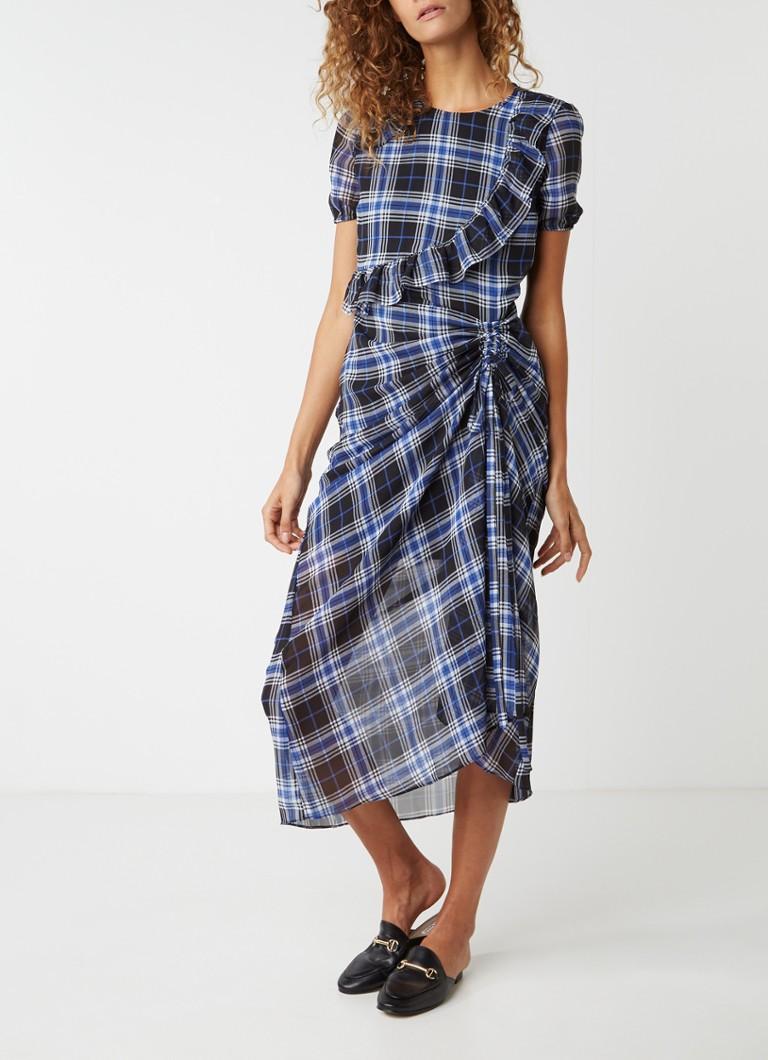 Maje Rancha maxi-jurk met ruitdessin blauw