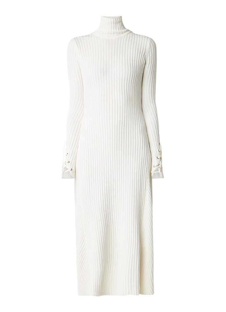 Maje Rafaela ribgebreide jurk in wolblend met rijgdetail gebroken wit
