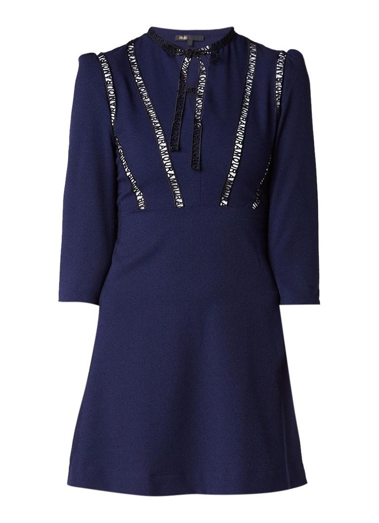 Maje Remala A-lijn jurk met opengewerkte details donkerblauw