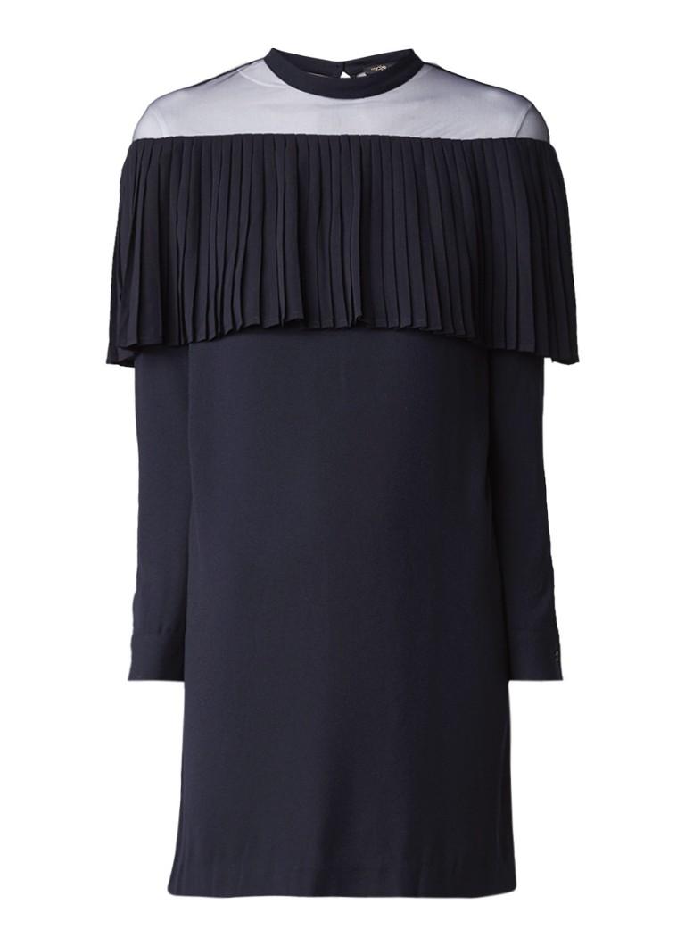 Maje Remia mini-jurk met mesh en plissé donkerblauw