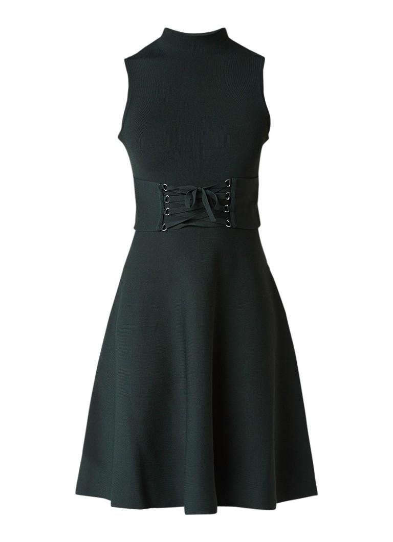 Maje Revolte A-lijn jurk met rijgdetail donkergroen