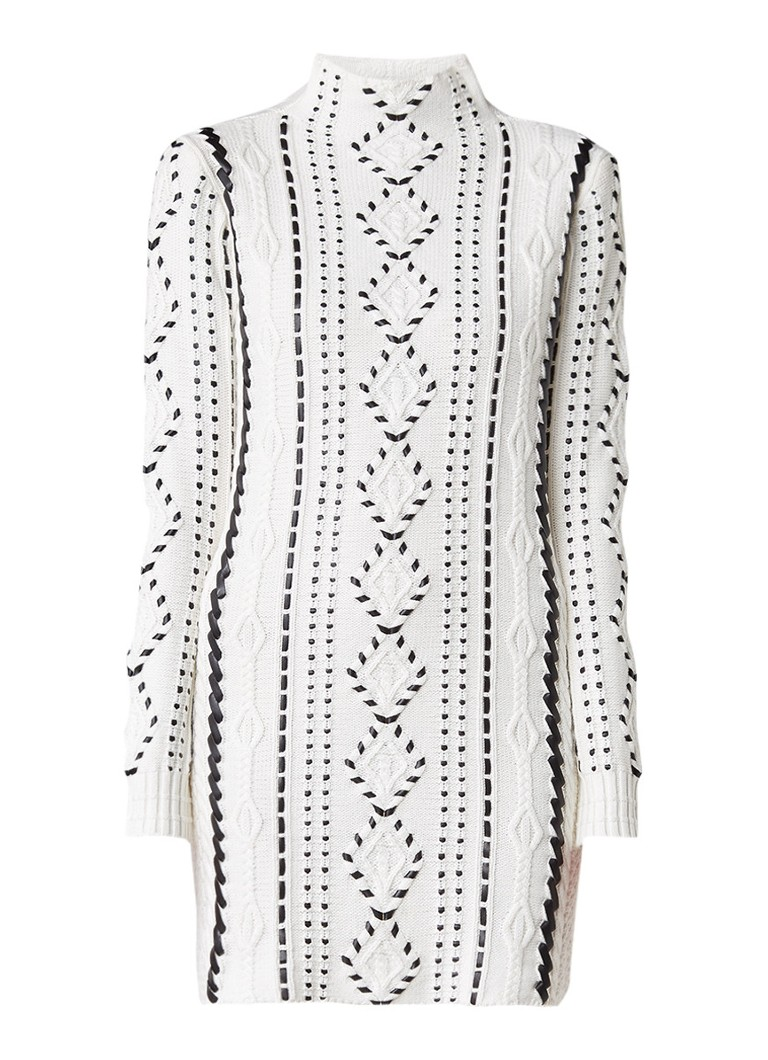 Maje Melanie kabelgebreide jurk met imitatieleer gebroken wit