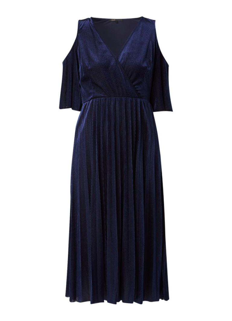 Maje Ragui cold-shoulder jurk van ribfluweel donkerblauw
