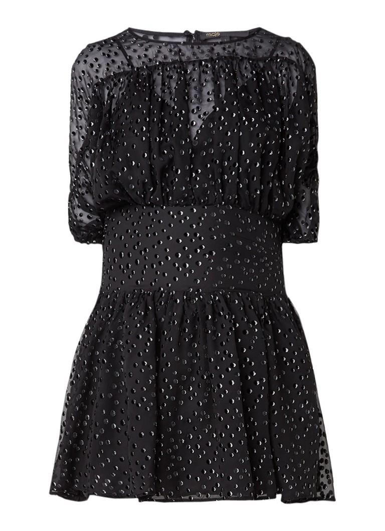 Maje Rawson jurk met stippenapplicaties en glitter zwart