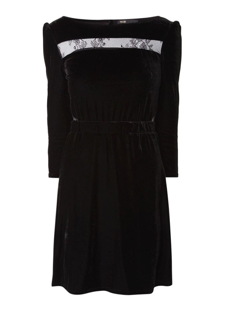 Maje Remano A-lijn jurk van fluweel met inzet van kant zwart