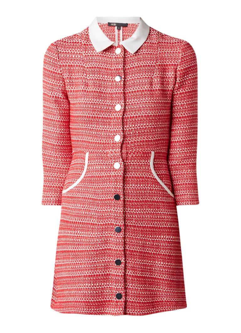 Maje Renate blousejurk van tweed met contrasterende kraag rood