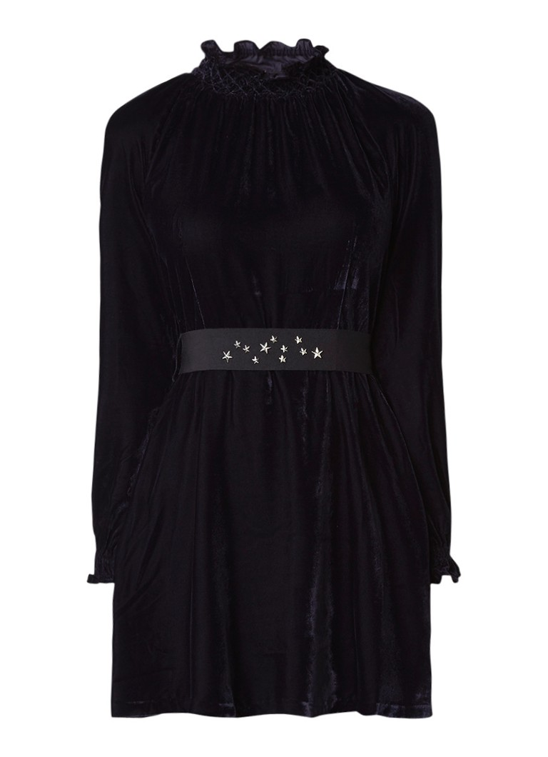 Maje Maje mini-jurk van fluweel met tailleband donkerblauw
