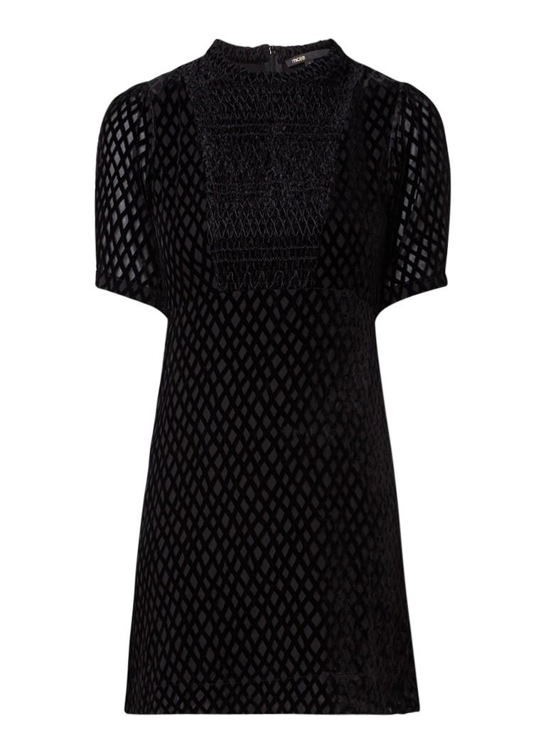 Maje Rivina mini-jurk van velours met ruittextuur zwart