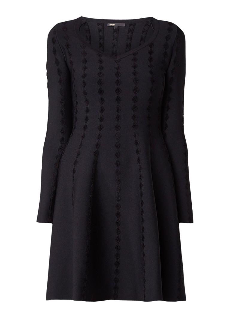 Maje Riziere A-lijn jurk met ingebreid patroon zwart