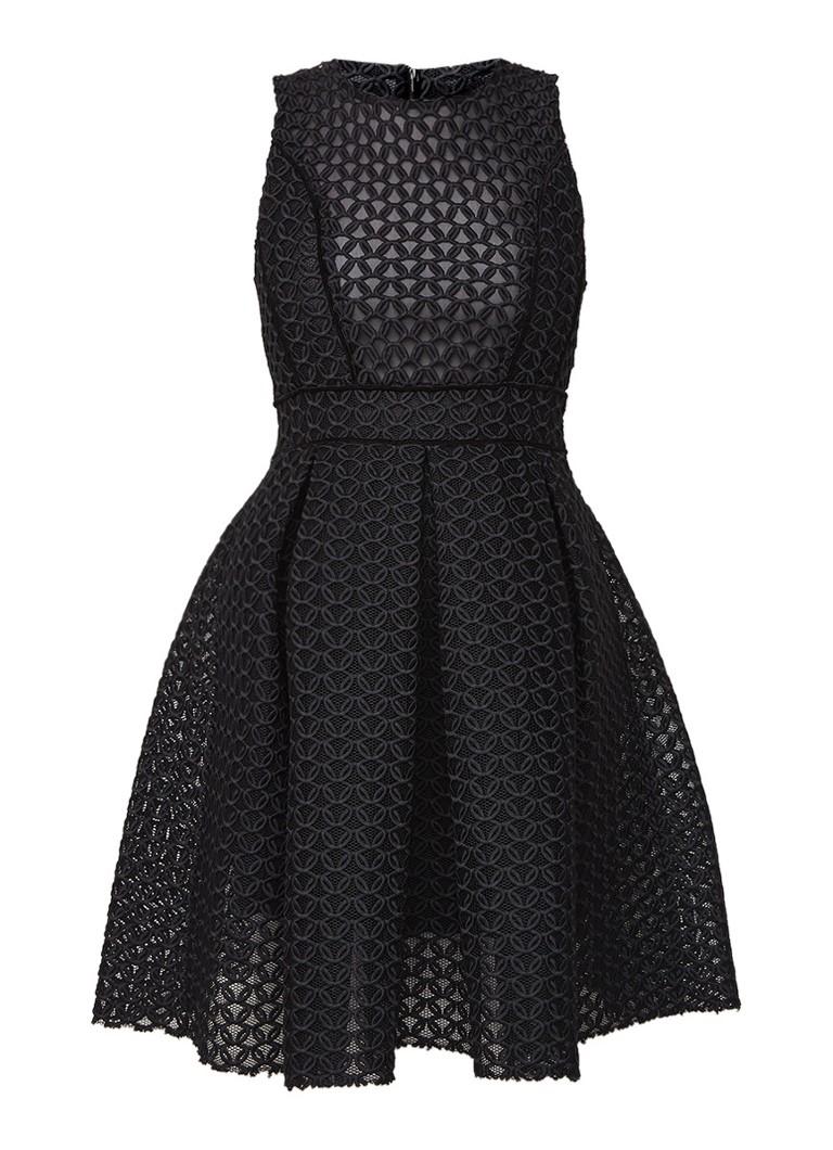 Maje Rosianne A-lijn jurk van mesh zwart