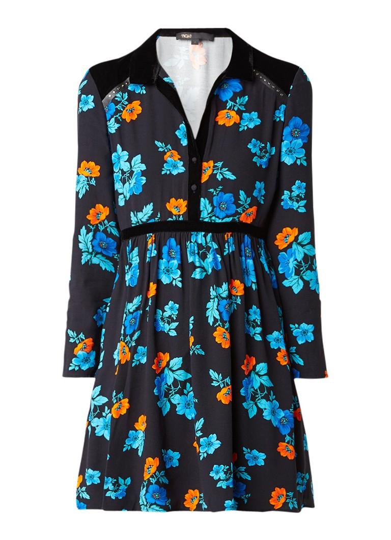 Maje Ruelli A-lijn jurk met detail van fluweel en bloemendessin zwart