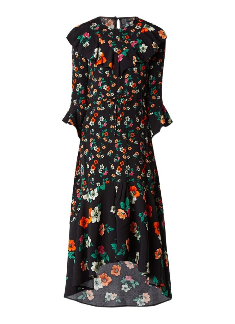 Maje Ruffle jurk van crêpe met ruches donkerblauw