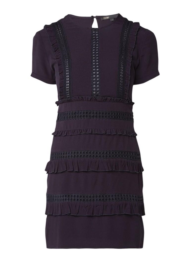 Maje Ruya mini-jurk met ruches en broderie zwart