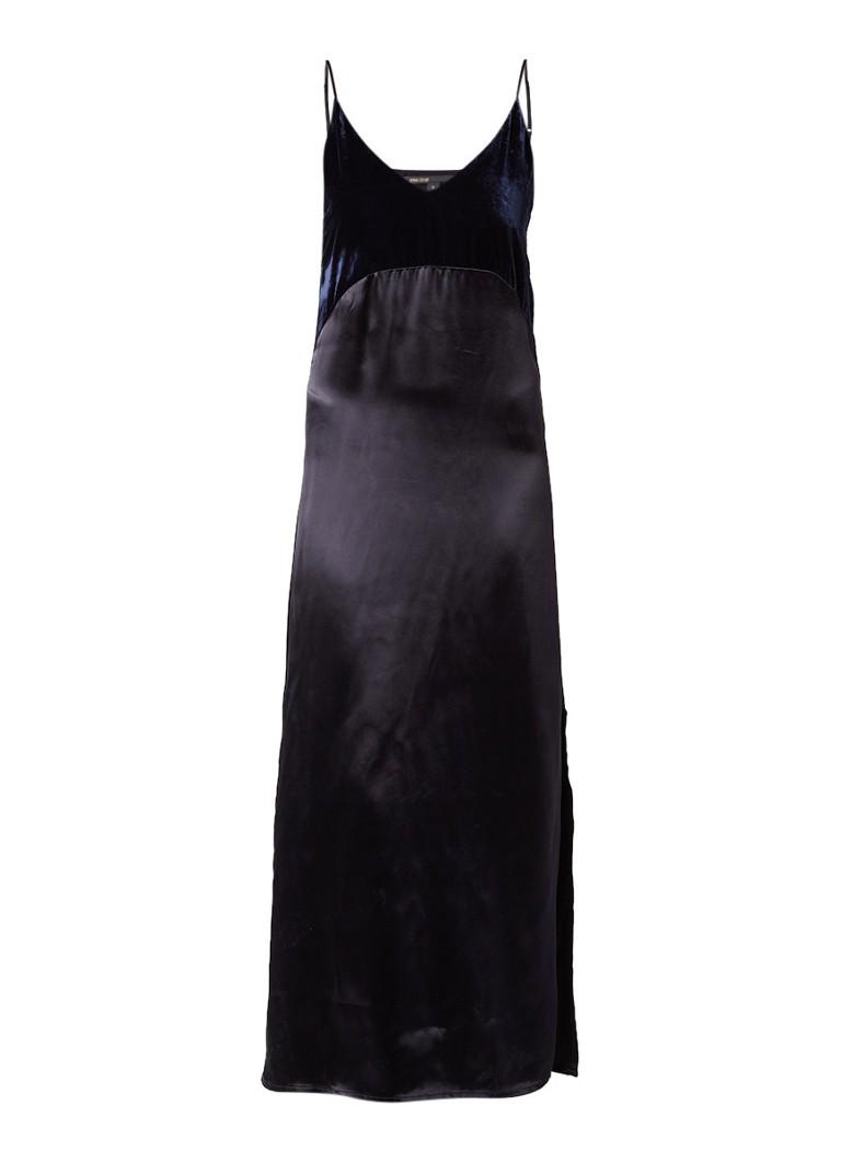 Maje Ryck maxi-jurk van satijn met bovenzijde van fluweel zwart
