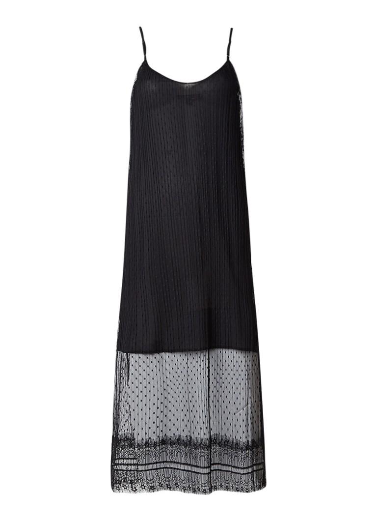 Maje Raelys midi-jurk van mesh met polkadots zwart