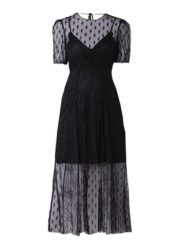 Maje Ramsey maxi-jurk van kant met pofmouw zwart