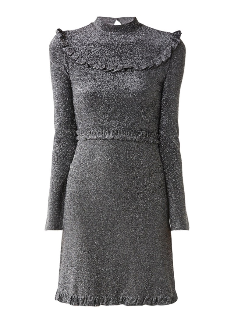 Maje Rister jurk met lurex en ruches zilver