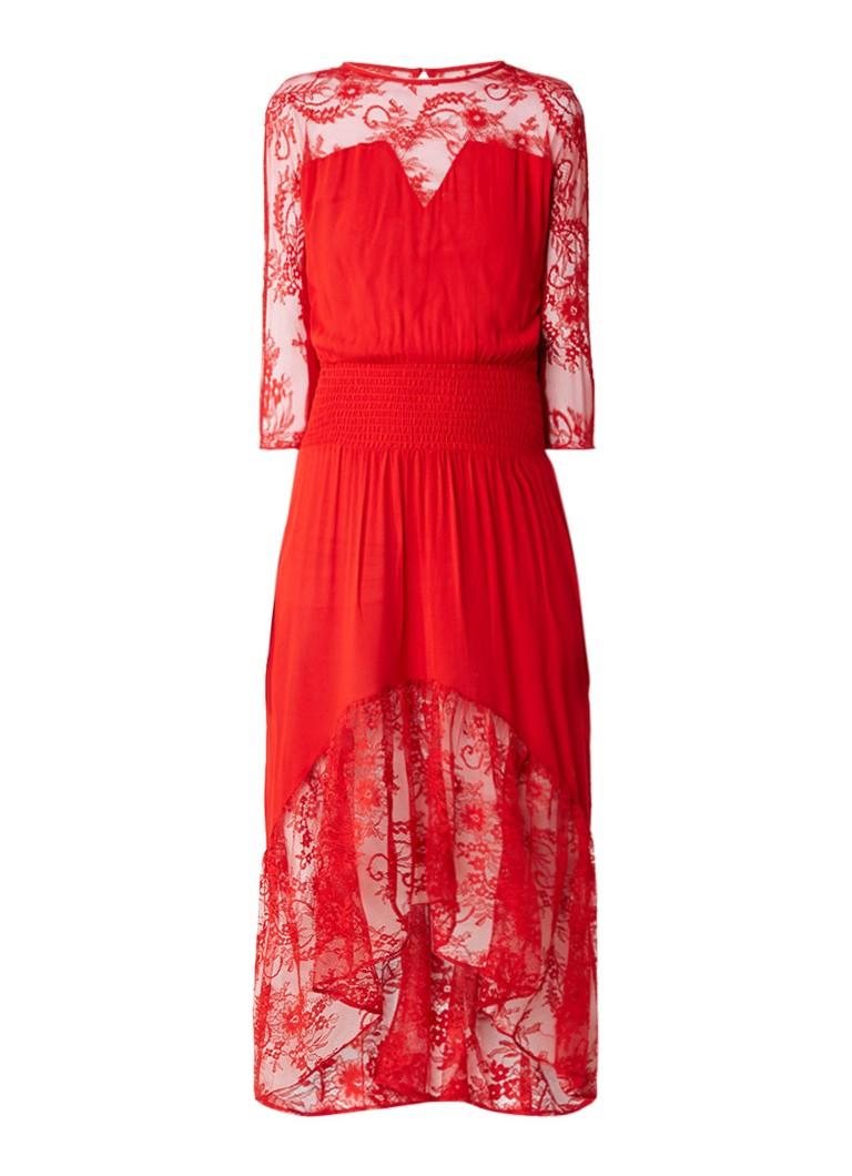 Maje Ritema maxi-dress van crêpe met kant rood