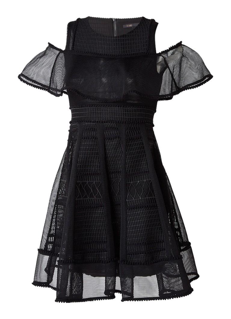 Maje Rosalie cold shoulder A-lijn jurk met mesh zwart