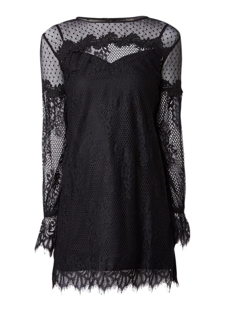 Maje Roya A-lijn mini-jurk van kant zwart