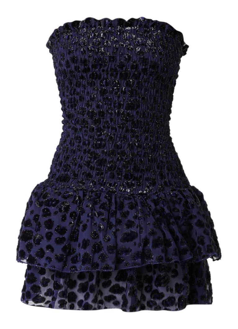 Maje Raziel strapless mini-jurk met luipaarddessin donkerblauw