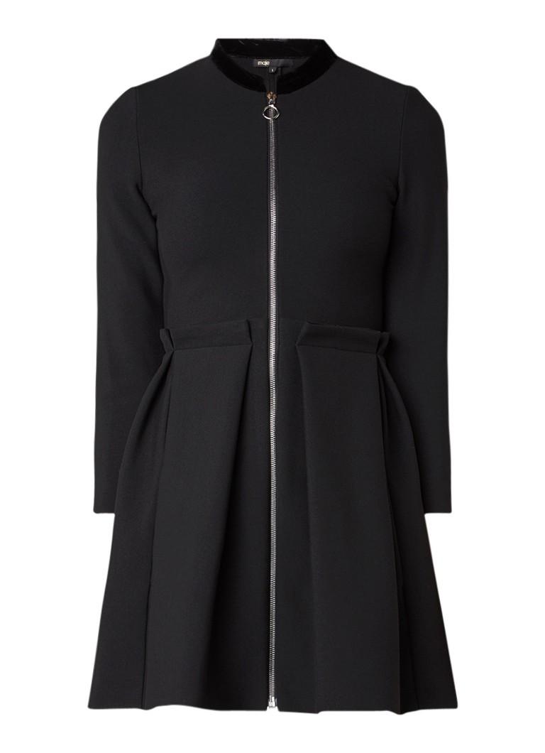 Maje Raneline jurk met kraag van fluweel zwart